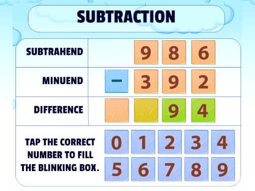 Jogo Subtraction Practice