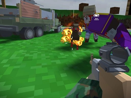 Jogo Blocky Zombie And Vehicle Shooting