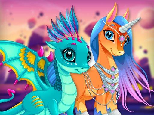 Jogo Cute Unicorns And Dragons Puzzle